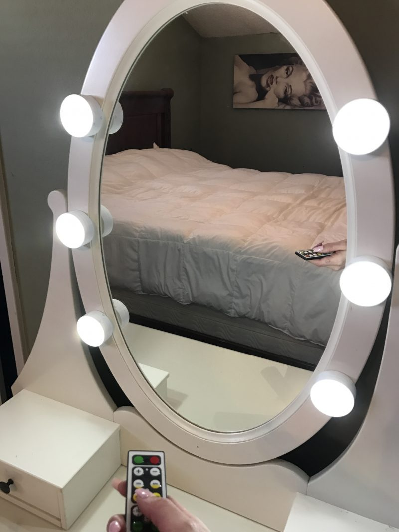 diy super easy remote controlled led vanity lights laugh love hippie. Black Bedroom Furniture Sets. Home Design Ideas